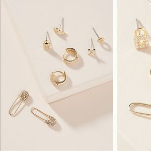 Anthro Ellis earring set - all but safety pins NWT